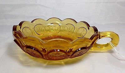 Fostoria Federal Coin Nappy Candy Dish One Handle Amber Yellow Frosted EUC