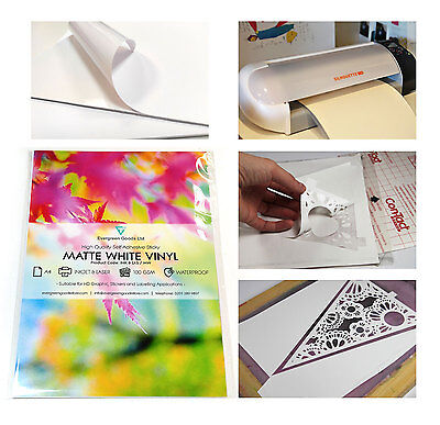 10x A4 Sticky White GLOSSY Self-Adhesive Craft Vinyl Silhouette WATERPROOF Thick