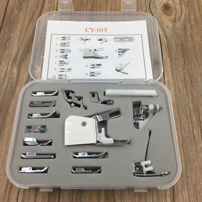 15pc Presser Feet Set Walking Foot Sewing Machine Tool For Singer Brother Janome