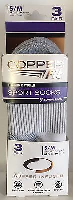 Copper Fit Sz S/M  3 Pack Copper Infused Compression Ankle Socks  White Unisex
