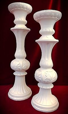 "White Ornate Candle holders 16"" 14""-Pillar Victorian Gothic Home Decor -Set of 2"