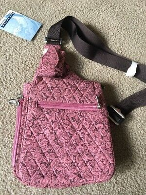 401e1c69bb TRAVELON ANTI-THEFT ROSE Pattern Quilted Pocket Crossbody Purse NWT ...
