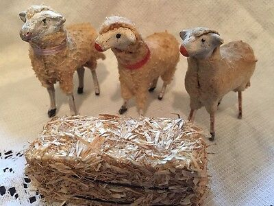 German Sheep Putz Toys 19Th Century Lamb Figurines Lot Of 3 Original 2+""