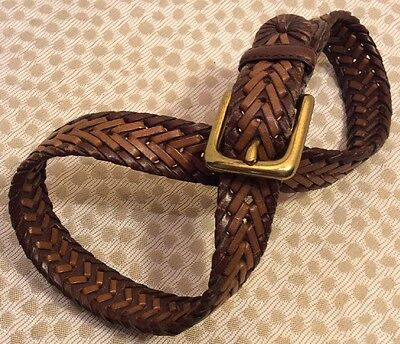 """Youth Boys Woven LEATHER BELT SIZE 20-22  / 24.5"""" Inches Long BROWN"""