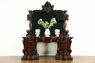 Victorian Antique 1850 Carved Mahogany Sideboard, Server or Console, Scotland