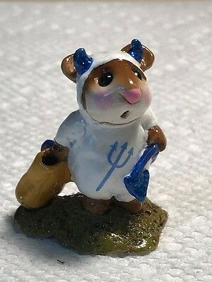 Wee Forest Folk M-61 Little Devil, White with Blue Trim and Pitchfork, Rare
