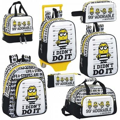 Minions Despicable Me 3 Rucksack Backpack School Holiday Lunch Bag PREMIUM B&W