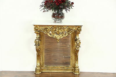 Victorian 1850 Antique Gold Hall Console or Petticoat Table, Hand Carved Heads