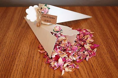 Personalised filled wedding confetti cones real biodegradable petals tied string