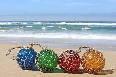 """12"""" Large Vintage Style Japanese Fishing Float ~ Blue Glass with Rope Netting"""