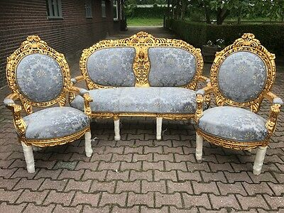 Antique Living Room-- French Louis Xvi Style: Sofa With 4 Chairs 19Th Cen. Set