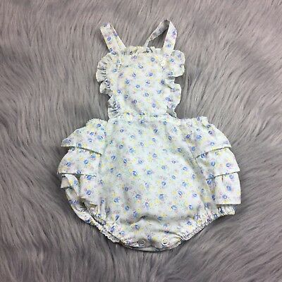 Vintage Baby Girl Toddle Ruffle Floral Pastel Sunsuit Romper