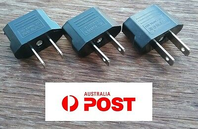 3 x Euro EU, Australia AU to USA AC Power Plug Travel Adapter