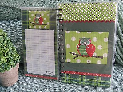 New Owl Lg Spiral Hardbound Blank Journal W/ Owl Magnetic Fridge List Pad