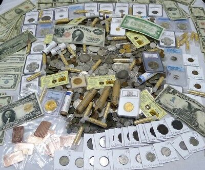 Antique Coin Estate Lot! Gold & Silver Bullion,Currency,Hoard,Coins, 10 Items!!!