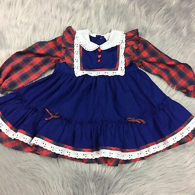 Vintage Toddler Girls Blue Red Plaid Ruffle Heart Long Sleeve Fall Dress