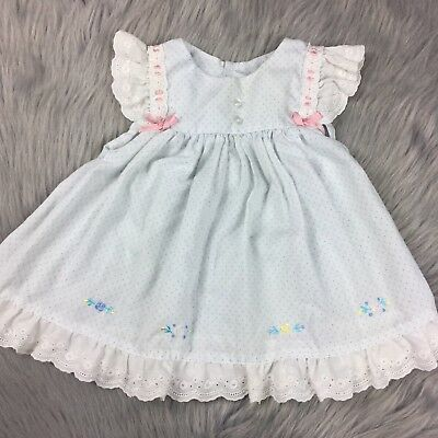 Vintage Baby Girls Blue White Polka Dot Embroidered Floral Lace Dress