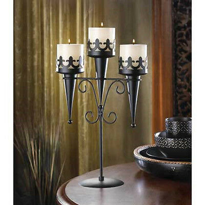 Black iron Torch Gothic dungeon castle medieval throne Candle holder Candelabra