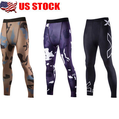 Men's Sports Gym Skin Tights Compression Base Under Layer Long Fitness Pants USA