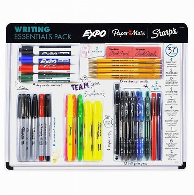 37PK Writing Essentials Ball Point Pen Marker Pencils Correction School Supplies