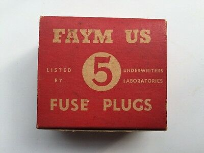 Vintage Fuses in Box FAYM US USA Fuse Plugs Underwriters Laboratories 15A 25A