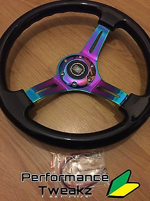 New Universal Jdm Neo Chrome 350Mm Dish Steering Wheel Nardi Omp Sparco Momo Uk