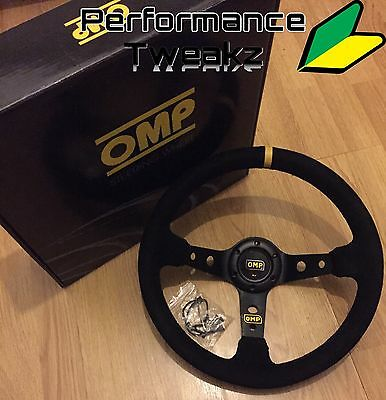 Hot - New Universal Black Omp Suede 350Mm Deep Dish Racing Sport Steering Wheel