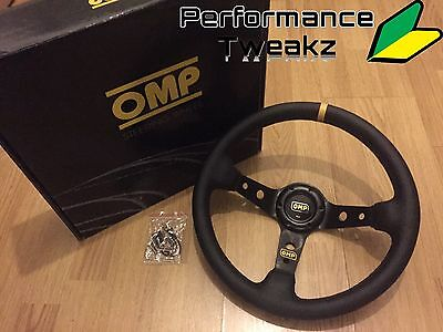 New Universal Black Omp Leather 350Mm Deep Dish Racing Sport Steering Wheel Uk