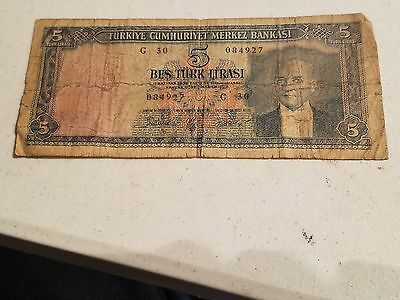 Turkey 5 Lira/turk Lirasi Note/paper Money Used