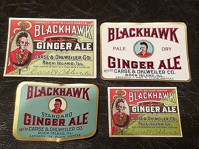 4 Different Labels For Blackhawk Ginger Ale,rock Island,illinois