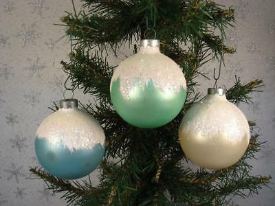 Vintage Lot Of 3 Shiny Brite Snow Cap Glass Christmas Ornaments Icy Look Mica