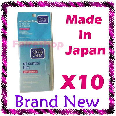 Clean and Clear Oil Control Face Film Blotting Paper Remove Excess Oil Dirt x 10
