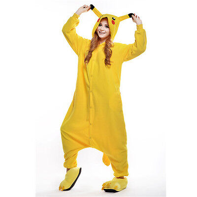 Unisex Adult Pajamas Kigurumi Cosplay Costume Animal Onesi (Pikachu S)