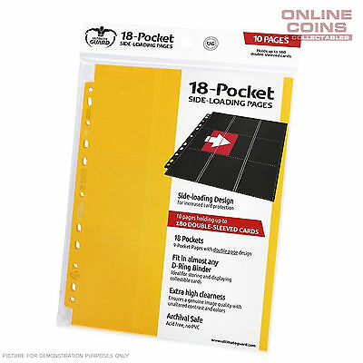 Ultimate Guard 18-Pocket Side-Loading Trading Card Pages - Yellow