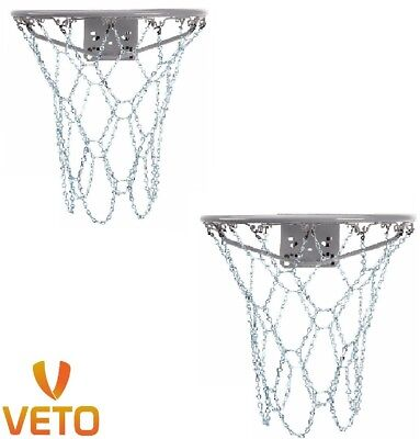 "2 x HEAVY DUTY Metal Basketball Chain Nets 12 Loop Steel 18"" Official Size Rims"