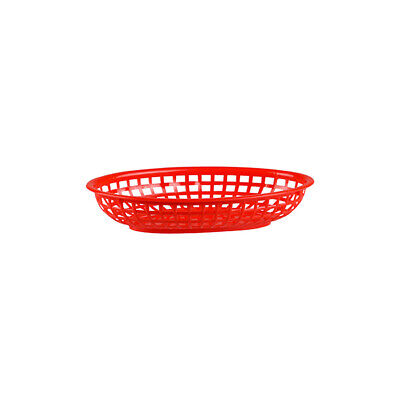 12x Red Plastic Bread Basket Small Oval Burgers Fries Cafe American Diner