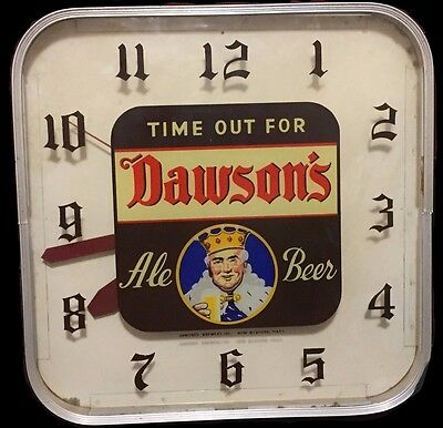 DAWSON'S Ale BEER Circa 1950's Vintage CLOCK Working RARE Antique New Bedford MA