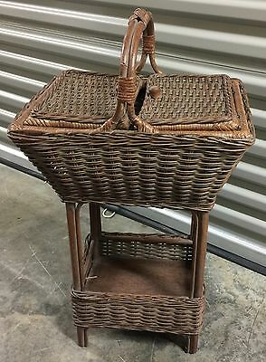 Antique Haywood Wakefield Style Natural Wicker Sewing Stand Knitting Storage