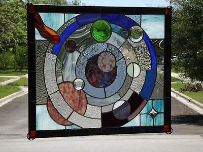 "°UNIVERSE°Stained Glass Window Panel • 27""-22 ½"" (68.5-57CM)"