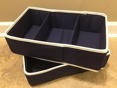NEW 2PC Pottery Barn Kids Baby LARGE Canvas Changing Table Storage NAVY