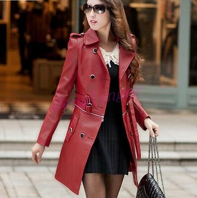 Motorcycle Faux Leather Detachable Womens Slim Fit Long Jacket Trench Coat NEW