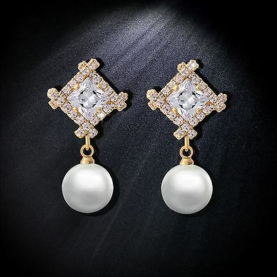 18K Yellow Gold Plated Genuine Austrian Crystal Dangle Pearl Clip-On  Earrings