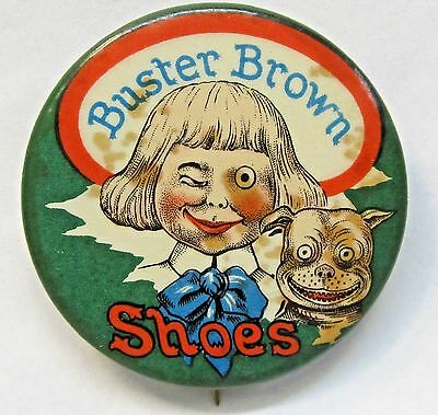"circa 1910 BUSTER BROWN SHOES green version 1.5"" celluloid pinback button SCARCE"