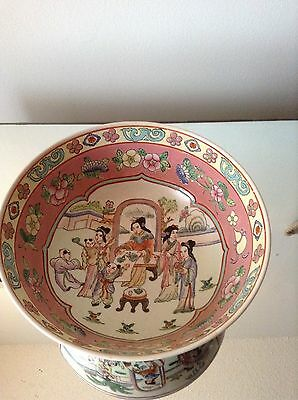 Large Vintage Chinese Asian Porcelain Bowl Highly Decorated Signed on Bottom