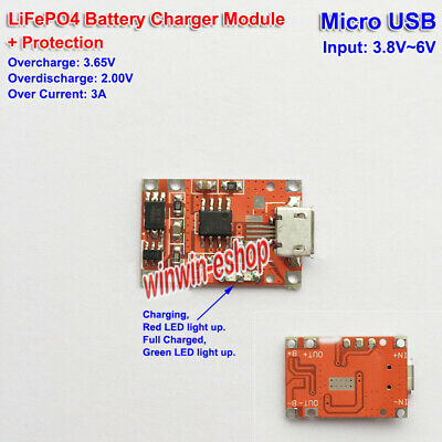 MicroUSB Charger TP5000 3.6v 1A 3.2v LiFePO4 Battery Charging Module +Protection
