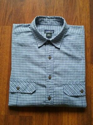 Patagonia Blue Plaid Long Sleeve Button Front Casual Shirt Men's Large L