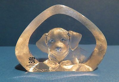 Mats Jonasson Puppy Crystal Sculpture or Paperweight With Original Box