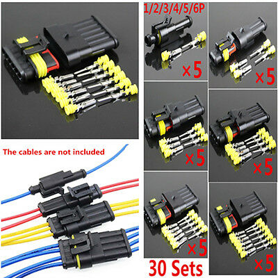 30Sets 1/2/3/4/5/6 Pin Way Sealed Waterproof Car Electrical Wire Connection Plug