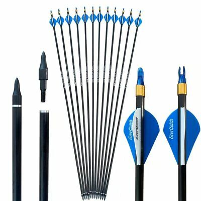 "12x 32""CARBON ARROWS 2""BLASER COMPOUND RECURVE BOW HUNTING TARGET NOCK COLLAR"