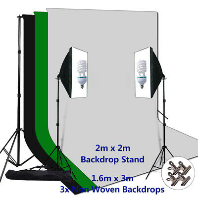 Photography Studio Softbox Continuous Lighting Light Muslin Backdrop Stand Kit